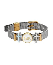 "Two-Tone Crystal ""Faith"" Adjustable Mesh Bracelet with Fine Silver Plated Charms"