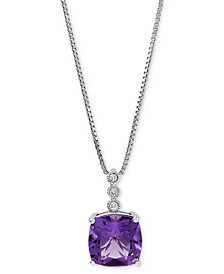 """Amethyst (3-3/4 ct. t.w.) & Diamond Accent 18"""" Pendant Necklace in Sterling Silver"""