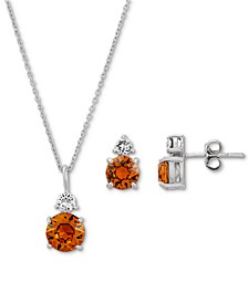 2-Pc. Set Birthstone Colored Crystal Pendant Necklace & Matching Stud Earrings Set in Sterling Silver
