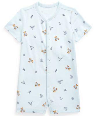 폴로 랄프로렌 Polo Ralph Lauren Baby Boys Bear-Print Interlock Polo Shortall,Blue Multi