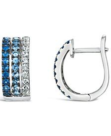 Ombré Sapphire Hoop Earrings (7/8 ct. t.w.) in 14k White Gold