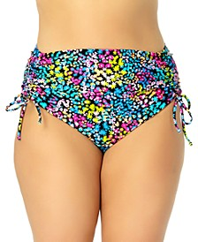 California Waves Trendy Plus Size Ditsy-Floral High-Waist Bikini Bottoms, Created for Macy's
