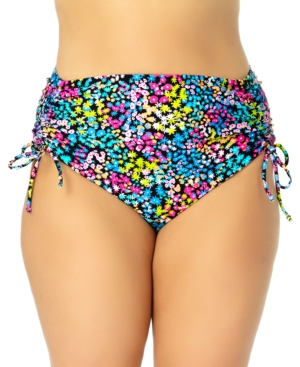 Trendy Plus Size Ditsy-Floral High-Waist Bikini Bottoms