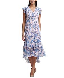 Petite Garden Chiffon Midi Dress