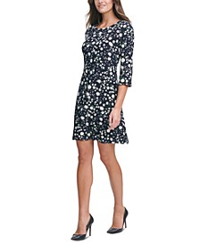 Petite Printed Grommet-Sleeve Dress