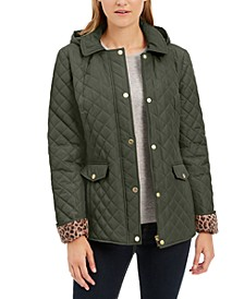 Quilted Leopard-Print-Trim Hooded Jacket, Created for Macy's