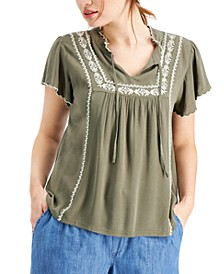 Petite Embroidered Flutter-Sleeve V-Neck Peasant Top, Created for Macy's