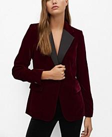 Women's Contrast Flap Velvet Blazer