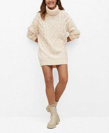 MANGO Women's Knitted Turtleneck Dress