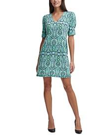 Paisley-Print Jersey Shift Dress