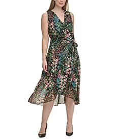 Plus Size Floral Chiffon Midi Dress