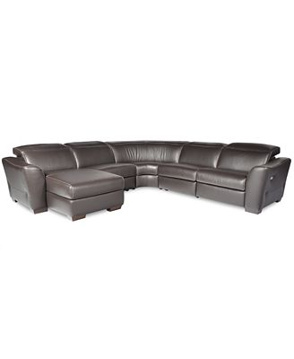 alessandro 5 pc leather sectional sofa with chaise with 1 power recliner with articulating