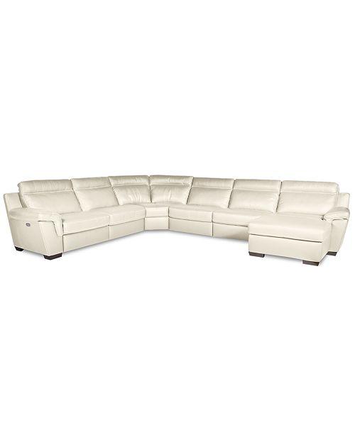 Furniture Closeout Julius 6 Pc Leather Sectional Sofa