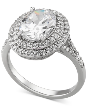 Cubic Zirconia Double Halo Oval Ring in Sterling Silver
