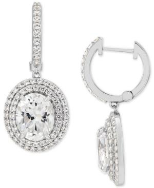 Cubic Zirconia Dangle Hoop Earrings in Sterling Silver