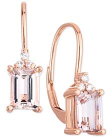 Morganite (1-5/8 ct. t.w.) & Diamond (1/20 ct. t.w.) Leverback Drop Earrings in 14k Rose Gold