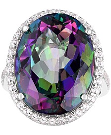 Mystic Topaz (20 ct. t.w.) & White Topaz (3/4 ct. t.w.) Oval Statement Ring in Sterling Silver