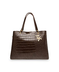 Triple Compartment Croco Satchel