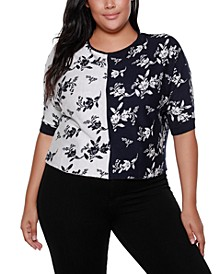 Black Label Plus Size Boat Neck Floral Color blocked Sweater