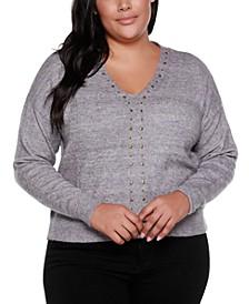 Black Label Plus Size V-Neck Long Sleeve Sweater With Embellishment