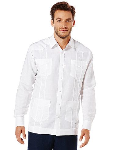 Cubavera Guayabera 4-Pocket Embroidered Shirt - Casual Button-Down ...