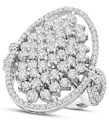 Diamond Oval Cluster Ring (2 ct. t.w.) in 14k White Gold