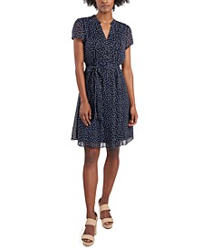 Petite Printed Pleated Fit & Flare Dress