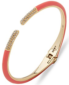 Gold-Tone Coral Color Cuff Bracelet