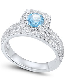 Blue & White Diamond Halo Engagement Ring (1-3/4 ct. t.w.) in 14k White Gold