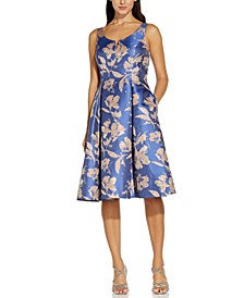 Metallic Floral-Print Jacquard Dress