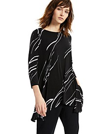 Printed Asymmetrical Swing Knit Top, Regular & Petite Sizes, Created for Macy's