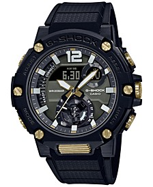 Men's Solar Analog-Digital G-Steel Black Resin Strap Watch 50mm