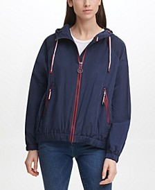 Women's Iconic Sporty Hooded Windbreaker Coat