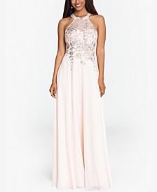 Embellished Chiffon Illusion Gown