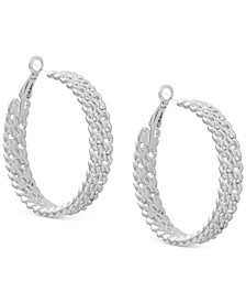 Medium Pavé Chain-Link Hoop Earrings, 1.75""