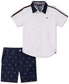 Baby Boys 2-Pc. Signature Shirt & Printed Twill Shorts
