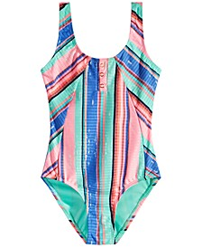 Breaking News Big Girls 1-Pc. Striped Textured Swim Suit