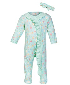 Baby Girls Garden-Print Cotton Coverall, Created for Macy's