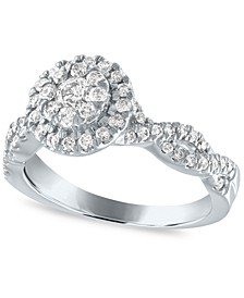 Diamond Halo Cluster Engagement Ring (1/2 ct. t.w.) in 14k White Gold
