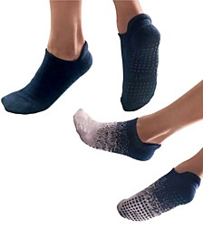 Women's Tab Closed Toe Grip Sock for Pilates Barre Yoga, Pack of 2