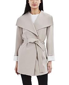 Belted Crepe Wrap Coat