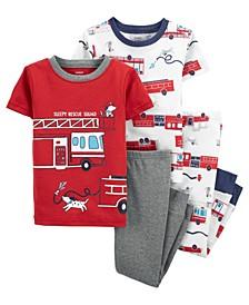 Toddler Boys 4 Piece Firetruck Snug Fit Pajama Set