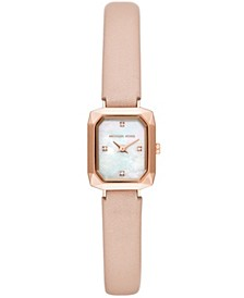 Women's Alane Two-Hand Pink Leather Strap Watch 18x28mm