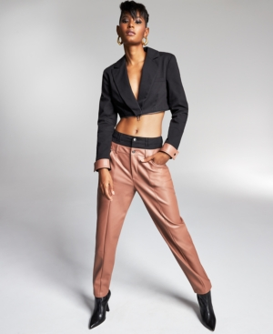 Double-Waistband Faux-Leather Pants