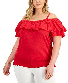 INC Plus Size Ruffled Cold-Shoulder Top, Created for Macy's