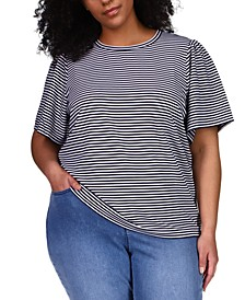 Plus Size Striped Flutter-Sleeve Top