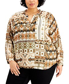 Plus Size Long Sleeve Printed Blouse