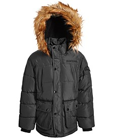 Little Boys Bomber Puffer with Faux-Fur Trim