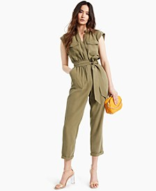 INC Petite Belted Utility Jumpsuit, Created for Macy's