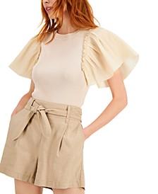 INC Woven-Sleeve Top, Created for Macy's